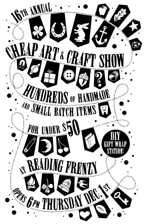 theokbb:  Come out to Reading Frenzy tonight for the 16th annual Cheap Art and Craft Extravaganza! I will have a bunch of new prints for sale along with a bunch of other talented makers! Free beer by Ninkasi! Opens at SIX! Facebook RSVP!