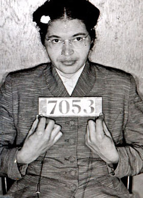 "pbsthisdayinhistory:  DECEMBER 1: ROSA PARKS REFUSES TO GIVE UP SEAT, 1955 On this day in 1955, Rosa Parks refused to give up her seat for a white passenger, leading to her arrest and sparking the Montgomery Bus Boycott. For many, this day became a symbolic start for the civil rights movement. American Experience's acclaimed ""Eyes on The Prize"" series covered all the major events of the civil rights movement. On the accompanying site, read the national press during the boycott and browse through photos of Rosa Parks, Dr. Martin Luther King, Jr. and even ordinary citizens who participated in this historic campaign for equality."