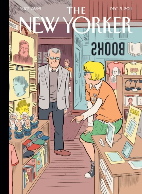 Like Ami Greko, I'm not exactly sure what the cover of this week's New Yorker is trying to say. Books are dead? E-books are bad? Old white men are befuddled? In any case, my friend Daniel Radosh long ago taught me the appropriate response to non sequiturs in The New Yorker. That's right: a caption contest. There is a prize.
