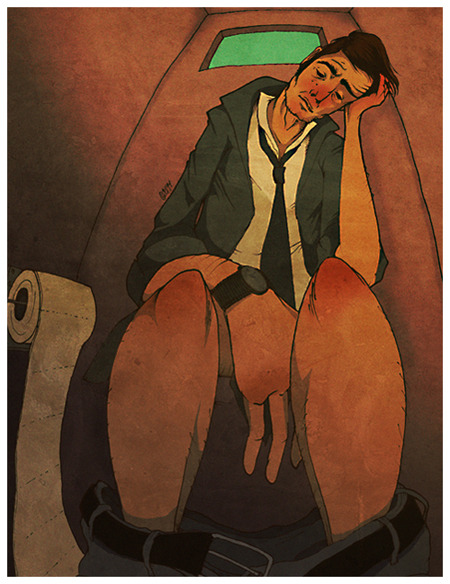 Coloured something from sketchbook. Depressed man in a toilet. Nice. (tahtinen)