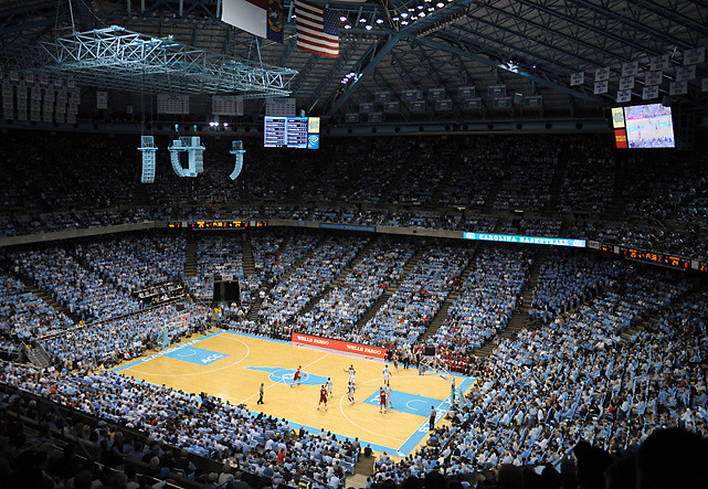 An aerial view of the Dean Dome during Wednesday's game between North Carolina and Wisconsin. Harrison Barnes scored 20 points in leading the Tar Heels to a 60-57 victory. (Evan Pike/Cal Sport Media) GLICKSMAN: Barnes provides surge as North Carolina tops WisconsinWINN: Style archive - Breaking down the 2011-12 season, so far