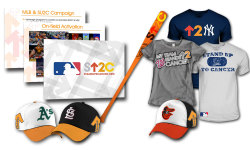 SU2C & MLB Campaign PresentationPhotoshop, Powerpoint Presentation created to promote a regular season MLB campaign in support of Stand Up To Cancer. Includes mockups of on-field integration, player equipment, and merchandise.