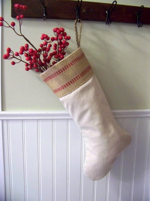 gift under 30 - red stripe jute stocking - linen - Christmas decoration - natural fiber