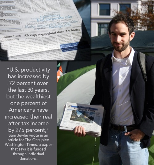 Sam Jewler of Occupy DC stands with a copy of The Occupied Washington Times. Follow along with a 'guided tour' of Occupy DC's 'Roving Kabaret', including photos of the day, historical tidbits, maps and recordings of those who took part. (Photos and Photo Illustration by Elizabeth Shell)