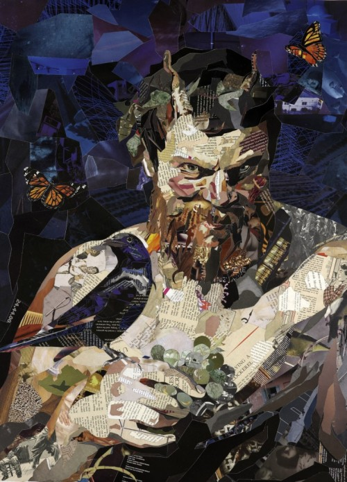 darksilenceinsuburbia:  Patrick Bremer. Satyr. Collaged magazines and books on paper, 85 x 60cm.