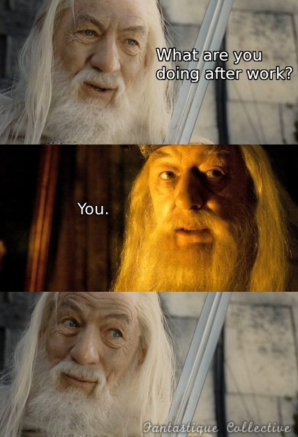 Gandalf: What are you doing after work? Dumbledore: You.