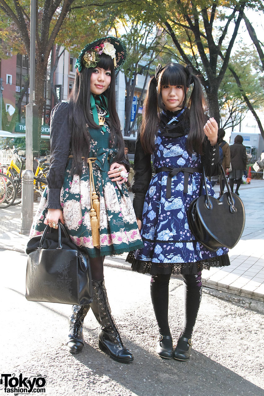 17-year-old Japanese lolitas we snapped wearing Alice & The Pirates in Harajuku. One of the girls has her own blog called Twilight Rose.