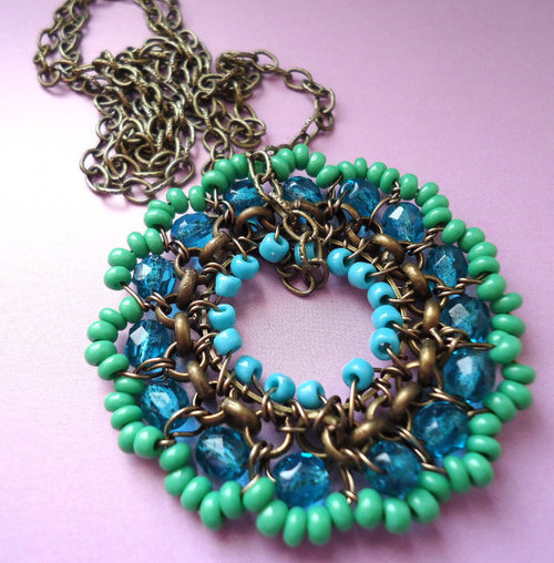 Copper Pendant Beaded Turquoise Green Wire by BohemiaJewelry on We Heart It. http://weheartit.com/entry/18609389