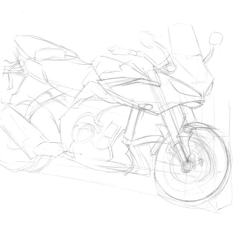 #OneADay sketch & art woes. Did this sketch based off of a motorcycle (of course I don't remember which one, haha) during lunch. You can see that I focused on the details first (see the headlights) and just kept FOCUSING. It hit me at around the 15min mark that I was falling into that trap again. I spent the next 15 minutes drawing the larger shapes first. Lots of construction lines, lots of smudgy pencil :/ This rekindled my internal debate about lightboxes, and if I should buy one or not.