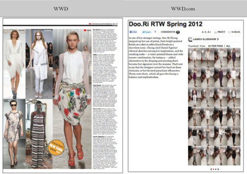 WWD features Doo.Ri! Spring 2012 Collection Source: http://www.doori-nyc.com/Sp12press/WWDsp12.png