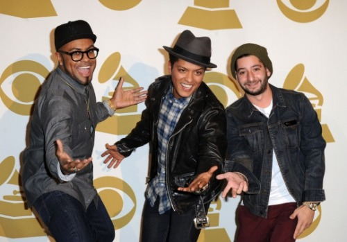 "The Smeezingtons' Philip Lawrence, Bruno Mars and Ari Levine backstage at ""The GRAMMY Nominations Concert Live!!"" on Nov. 30 at Nokia Theatre L.A. Live in Los Angeles. Congrats to all The 54th GRAMMY nominees. For a complete list of nominees: http://grm.my/fo4wwJ  [Photo: Steve Granitz/WireImage.com]"