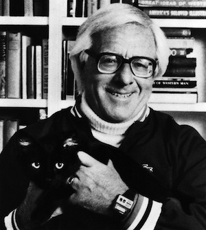 Ray Bradbury, with cat.