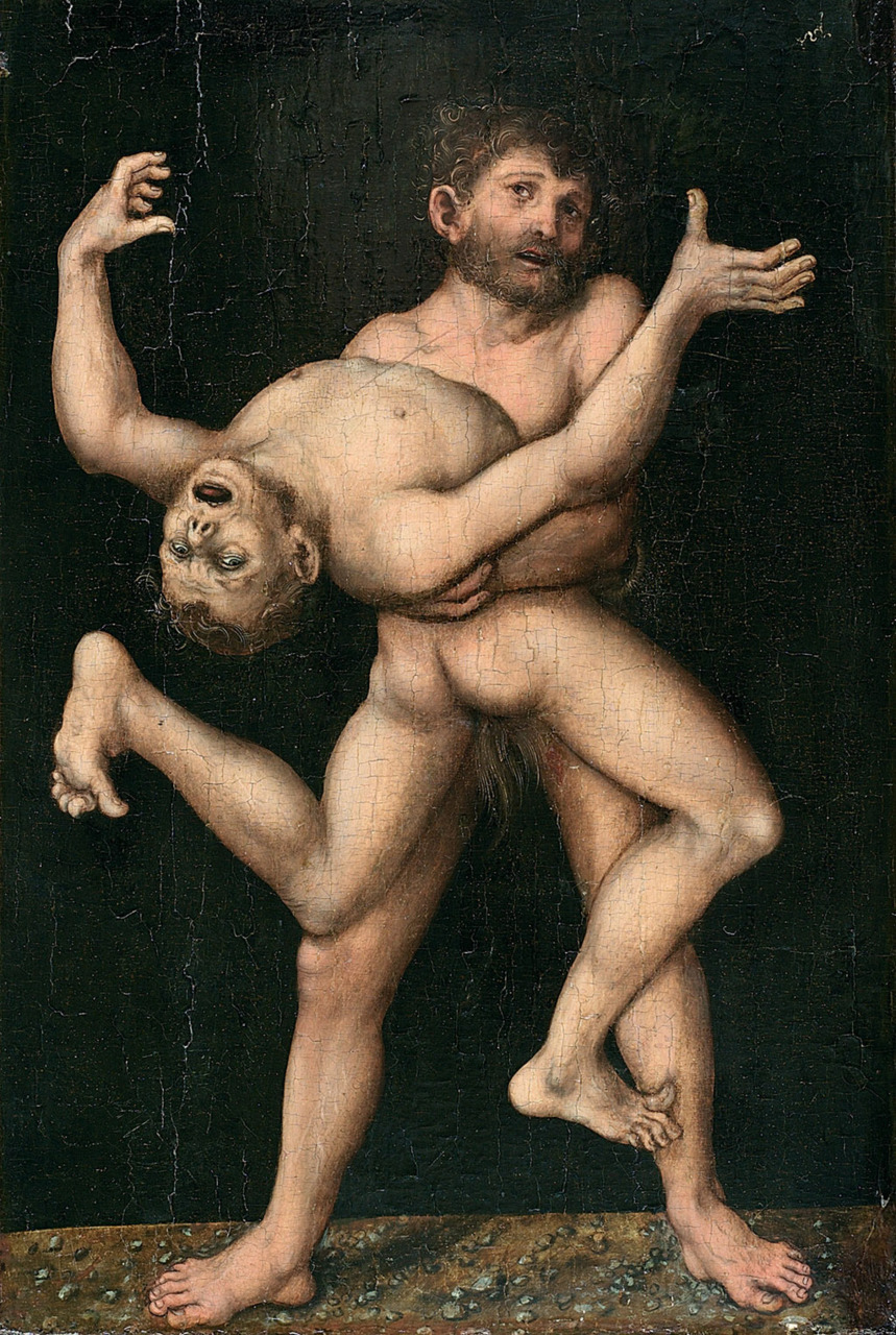 yourhost:   lucas cranach the elder.     hercules and antaeus. 1530. via