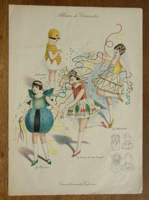 Adorable girls' fancy dress costumes from a 1926 French fashion magazine. The beetle and the chick in the egg are absolutely precious.