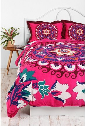 Bright and colorful Boho style bedroom (via UrbanOutfitters.com > Mandala Duvet Cover)