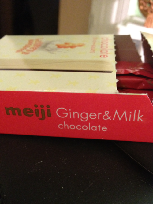 Meiji Ginger and Milk Chocolate (日本)  Verdict = C+. The ginger taste is REALLY strong and overpowers the milk. Recommended for ginger lovers only…or adventurous snackers.