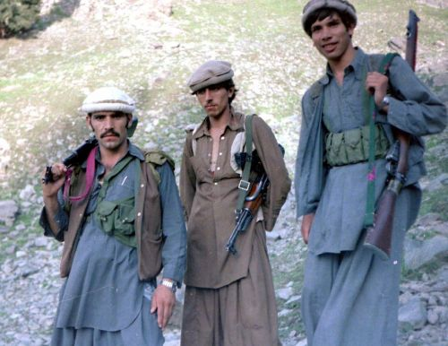 Afghan Mujahideen fighters during the Soviet war in Afghanistan. Panjsheer Valley, Afghanistan - 1985.
