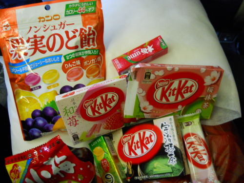 the Japanese food stash from the airport gift shop :P