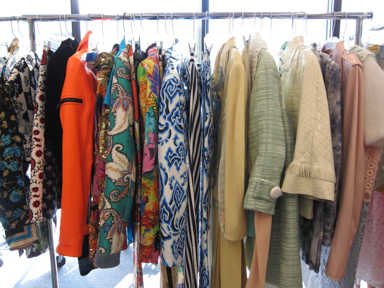 A gorgeous rack of spring-y clothes in the fashion closet for an upcoming MC shoot. We spy some Louis Vuitton! Photo: Sergio Kletnoy