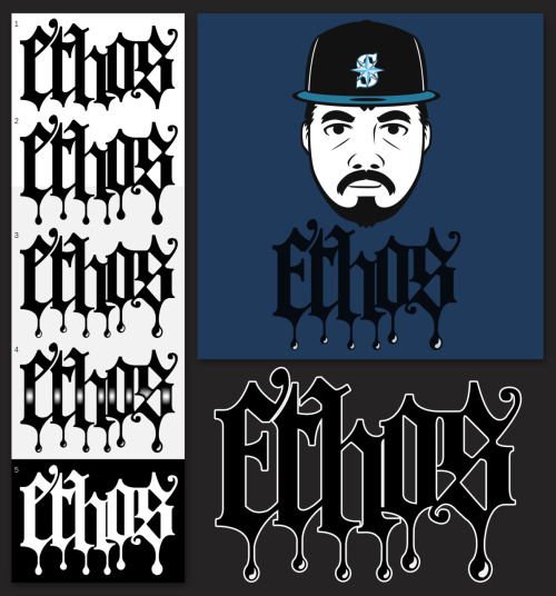 An identity designed for an MC based in Seattle named Ethos, included in this set is the concept board for logo modifications, the illustration of the artist and the completed logo which is now his official logo for promotional and artistic use.