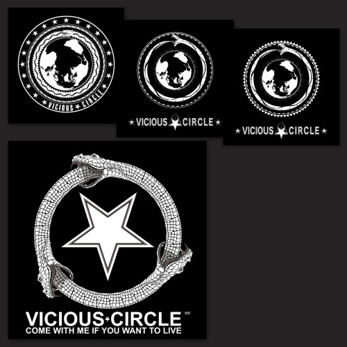 "Here is a digital-concept to completion for the Vicious Circle logo designed by myself with assistance in conception and design by my partner Kaleb Ladd-Cocca. This is a very important brand for myself and Mr Ladd-Cocca as it is the name and brand for our design collective and freelance design company. The concept behind the name and logo is not only a play on words, we chose the image of the Ouroboros (snake eating its own tale) as our icon because it lends to the complete circle that is design, from concept to design and completion. It has three heads, one for Photography (Kaleb's profession), one for Illustration (my profession) and the top one for Design (our shared profession) which is the merging of both concepts and so much more. The star at the center is supposed to represent the true star of the design show, the client, for without their concept, their need, their product, there would be no real call for professional design. The slogan, ""Come with me if you want to live"", is meant to basically infer that we will breath life into your creation and really take it to the extent of it's ability."