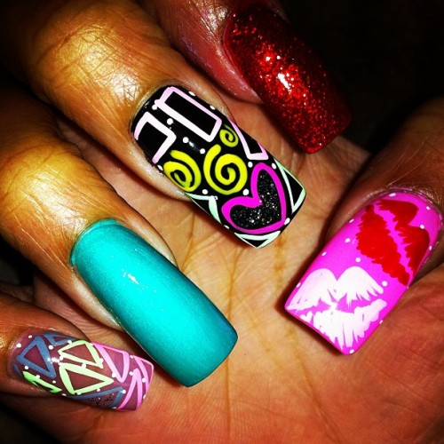 #nails #nailart #glitter #triangles #rectangles #shapes #kisses #lips #teal #hearts #swirls nailart #random #customnailart #iPhone #Instagram  (Taken with instagram)