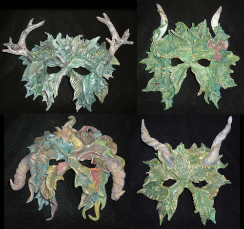 My Four Season's Green Men masks Each represents an element and a season.  each were inspired by a horned or antlered god form various mythologies. Winter - earth - Herne Summer - fire - Ba'al Autumn - water - Amon Spring - air - Lucifer