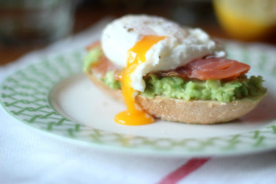 gastrogirl:  smoked salmon, poached egg, and avocado english muffin.