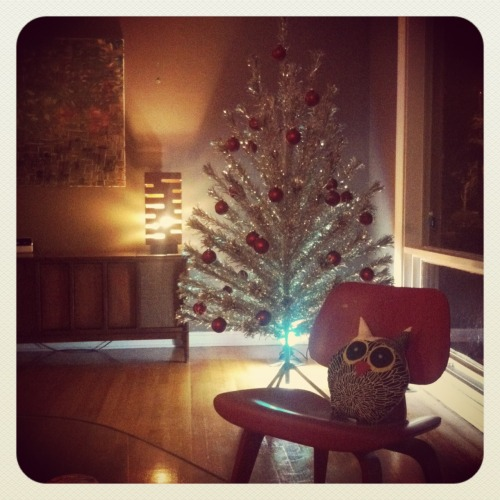 Our vintage Evergleam aluminum tree is up. I love this time of year so much.