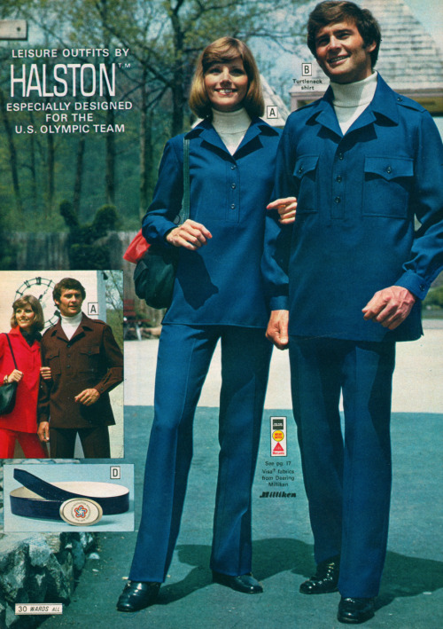 "newhousebooks:  1972 Wards. Leisure suits designed for the US Olympic Team can now be yours. 100% texturized woven polyester. Be sure to order unisex reversible belt, ""navy on one side, white on the other.""  It's not too late to have a revival of these for London 2012, is it? Tell me there's still time?"