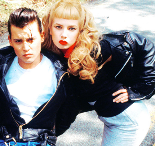 musiciansingirdles:  Johnny Depp and Traci Lords in Cry-Baby (1990)