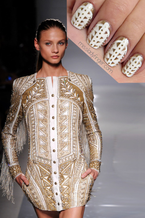 "Very NICE work!  missladyfinger:  MANICURE MUSE: Balmain SP'12 Balmain simply wouldn't be Balmain without some lavish jackets and barely-there minis. I'm loving the gold and white embellishment, so with the holidays coming up, this might mean sprinting to the nearest Balmain store. One-way ticket to Paris, please! For this look I used ""Got My Groove Back"" by Ginger+Liz and a white by Color Club."