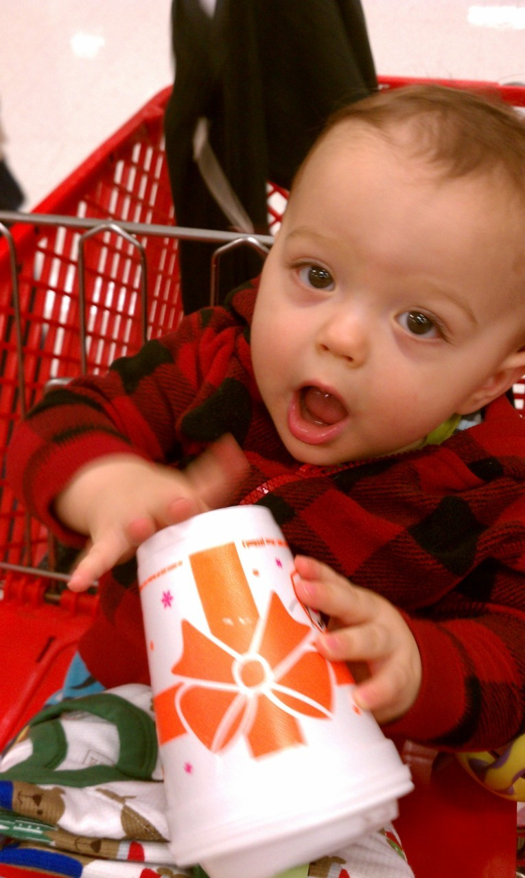 Beau enjoyed his first Dunkin Donuts coffee this past Black Friday while helping us shop. Luckily he didn't realize what end to drink from and didn't ingest any caffeine, lord help us if he was hopped up on coffee from Dunkin.