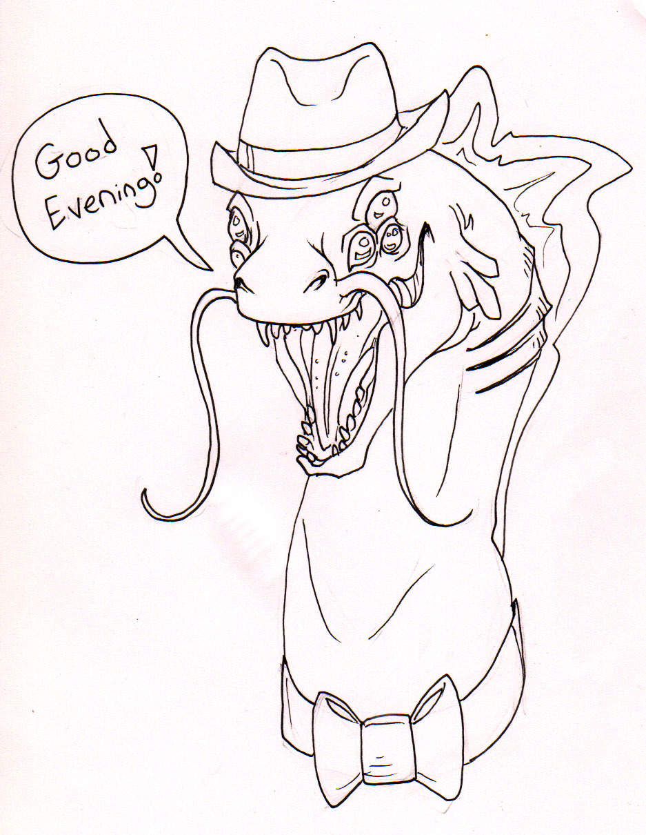 Sketchbet fanart! Guezadilla's rather awesome gentlemen eel. Because monsters in classy formal wear are my fav.