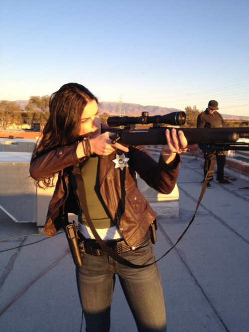 Jaimie Alexander on the set of The Last Stand..