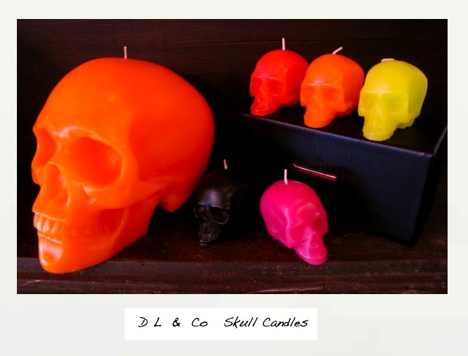 Why not give some fluro skull candles to familial funsters this Christmas?