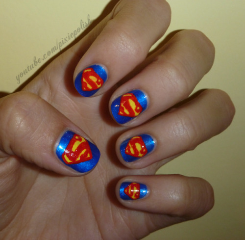 Manicure Monday: Superman Nail Art, by PixieAmor.