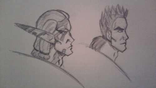 You know when I said I would draw Jak things? Well, I did. Sorta. Actually, I wanted to play around more with profile/face shapes in general, and I ended up using Torn (Jak series, left) and Toma (DBZ, right) and giving them a slight Bruce Campbell look. Yes, it's the chin-size. Torn looks WAAAAY better than Toma here, for the record. But it's an exchange in a way; Toma's hair looks like crap, but Torn's tats were a fuckin' bitch as well. orz 2B pencil lead.