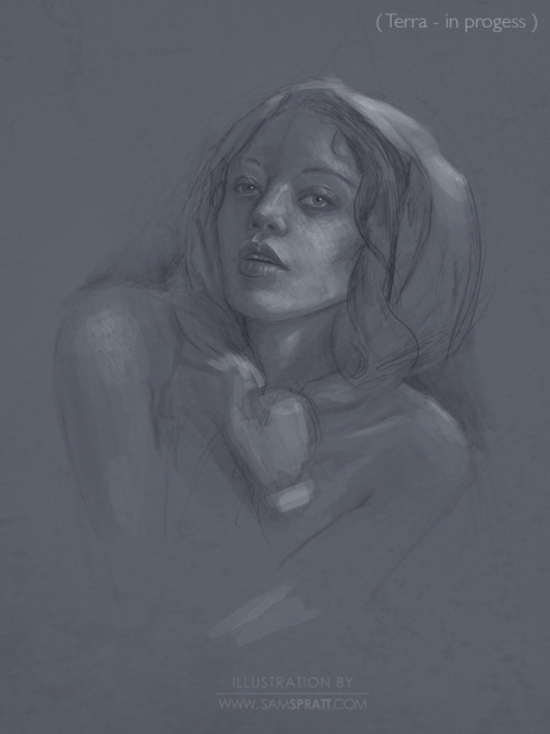 """Terra"" - in progress - by Sam Spratt What (in my head) will eventually be an incredibly classical painting, I am approaching the early stages in a traditional fashion. Here's some very very early progress at the sketch stage.   Follow my: portfolio website,  tumblr,  facebook artist's page and twitter."