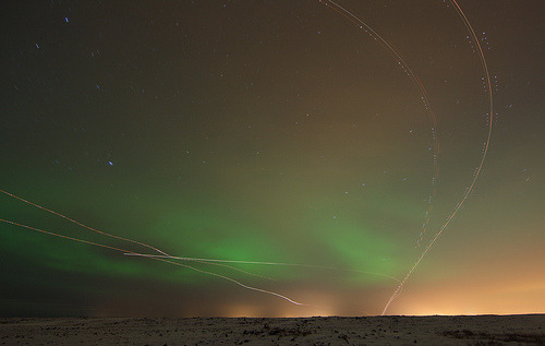robot-heart:  UFO and Northern lights (by olgeir)