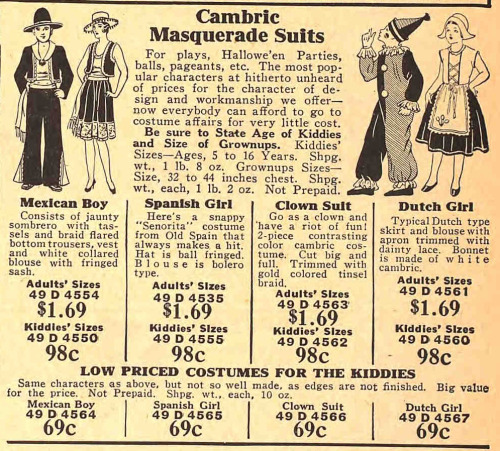 Inexpensive, mass-produced masquerade costumes were available for mail order in the 1930s. This selection of costumes is from the Fall 1933 Sears catalog.