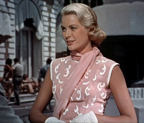 That looks like calligraphy on her dress! #gracekelly  Still from To Catch a Thief, a movie I have yet to watch!!!!