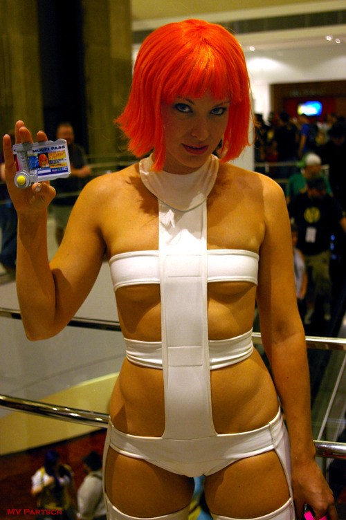 """Leeloo Dallas Multi-Pass."" Portrayed by the Astonishing Emily: Steampunk/Cosplay Artist & Model. Dragon*Con. Atlanta. 2011. Hyatt Regency. Atrium Tower Lobby."