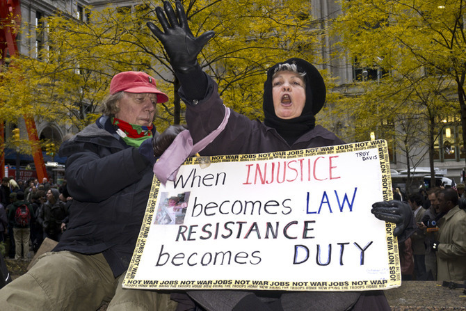 "thepeoplesrecord:  I love this sign! ""When INJUSTICE becomes LAW, RESISTANCE becomes DUTY"""