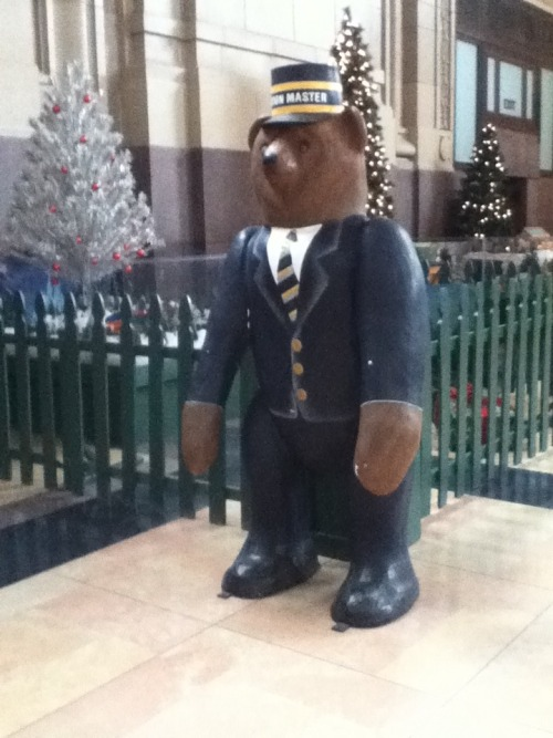 Why yes, that is a friendly-looking bear in a Station Master's uniform. Part of the holiday display (or maybe/I hope he's there permanently?!) at beautiful Union Station in Kansas City, Missouri.