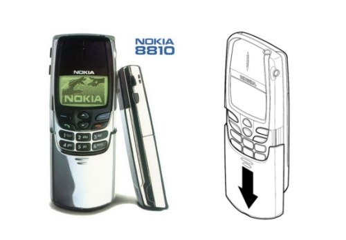 "The Nokia 8810 No antennas here!! This was the first phone to be created without a visible antenna. WIth this phone Nokia found a way to encase the antenna by using a flat plate-like one instead of the standard one that protruded from the phone, making this the first ""chocolate bar"" or ""bar phone"""