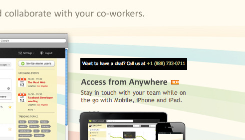 Conversion: flowr (@flowr) has a simple phone number on the site. According to this Kiss Metrics article, just the fact that there is a phone number displayed, increases the conversion by .5%.