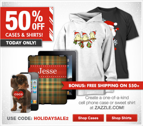BIG SAVINGS!!! 50% off Shirts @Zazzle Use Code: HOLIDAYSALE2 shop now at http://www.zazzle.com/detourdesignables