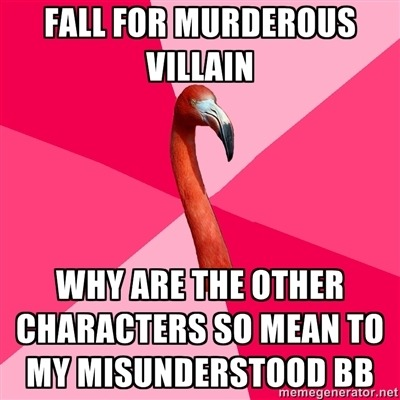 helens78:  codenamecesare:  fuckyeahfanficflamingo:  [FALL FOR MURDEROUS VILLAIN (Fanfic Flamingo) WHY ARE THE OTHER CHARACTERS SO MEAN TO MY MISUNDERSTOOD BB]  One of my flamingo submissions. :-)  Ahahaha!  He's not murderous!  He's, um… venge…ful…….. um.  *quits while is ahead*  Holy what the… I was going through my archives despairing over my tags (NEED TAG MANAGEMENT DESPERATELY TEARS TEARS) and noticed how many notes this has. This is definitely the most noted thing I've ever (or likely will ever!) created on Tumblr. I guess, in this era of Loki and the like, it resonates…