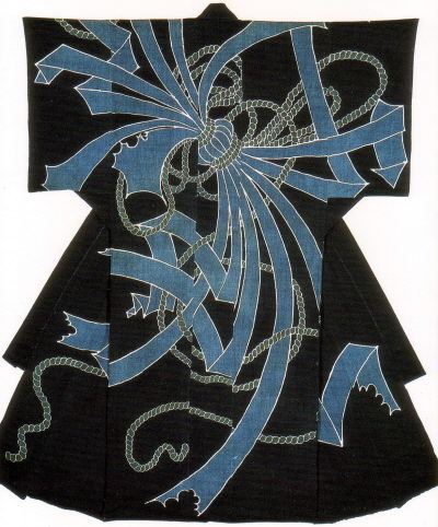 Kimono-shaped comforterEdo Period, 19th CenturyIndigo dyeingCotton